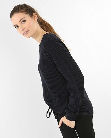 Pullover mit rundem Halsausschnitt Marineblau