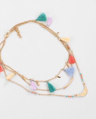 Mehrreihige Halskette mit Troddeln Gold