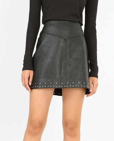 Mini jupe en simili cuir noir