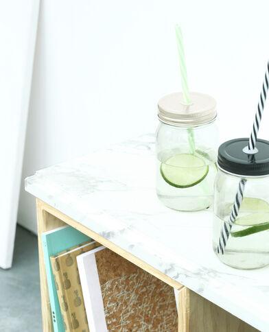 Mug en verre avec paille gris argenté