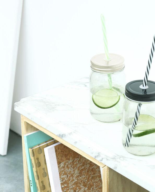 Taza de cristal con pajita gris brillante