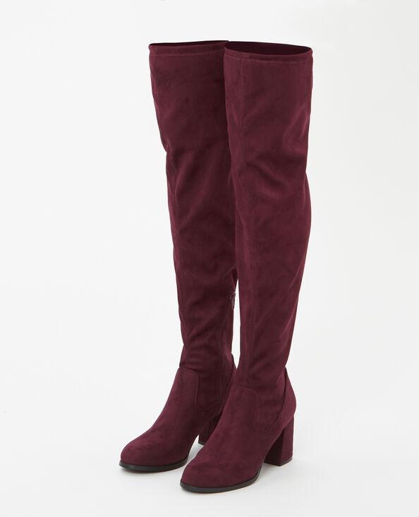 Overknee-Stiefel in Veloursleder-Optik Granatrot