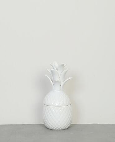 Keramikdose in Ananas-Form Naturweiß