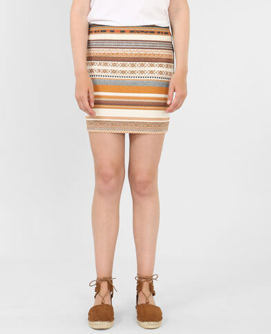 Gonna bodycon jacquard mostarda