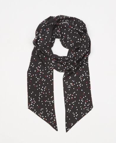 Fular corbata corazones negro