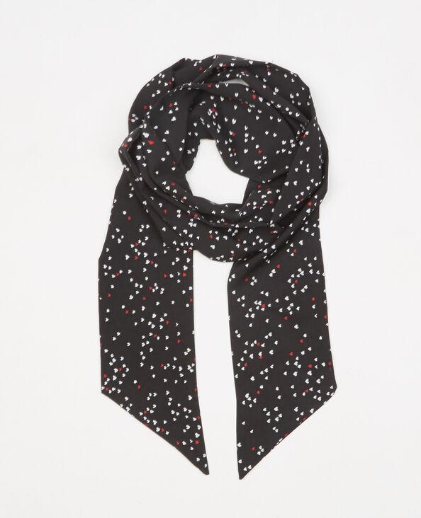 Foulard cravate cœurs noir