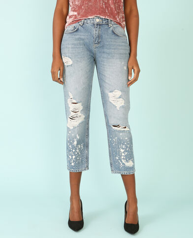 Jean girlfriend peinture bleu denim