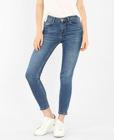 Jeans slim con zip blu denim
