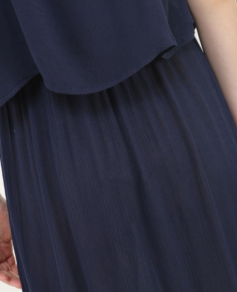 Langes Kleid mit gekreuztem Rückenteil Marineblau