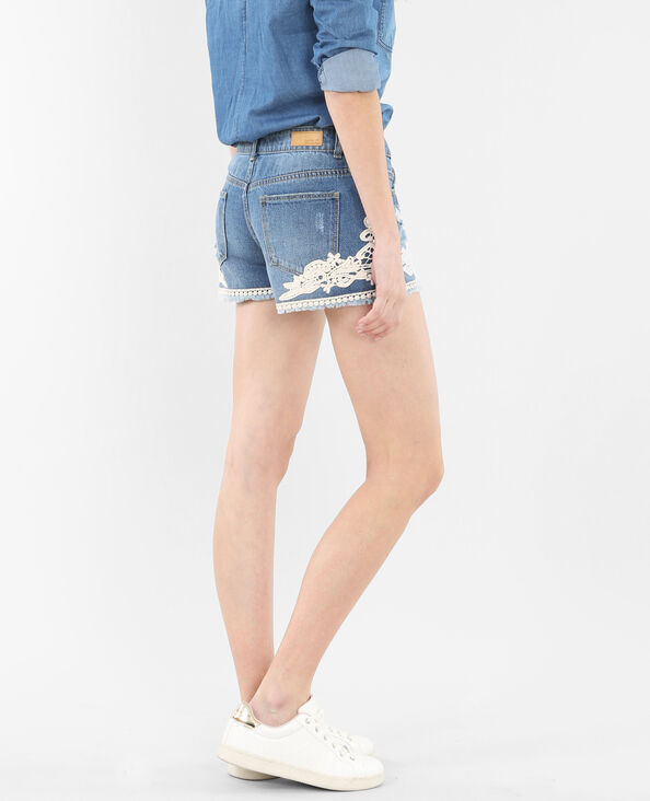 Mini short macramé bleu denim