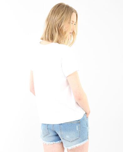 Camiseta estampado glitter marfil