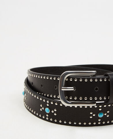 Cinturón cabujón turquesa negro