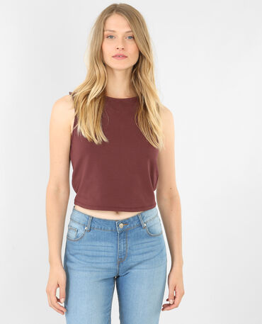Cropped top sans manches grenat