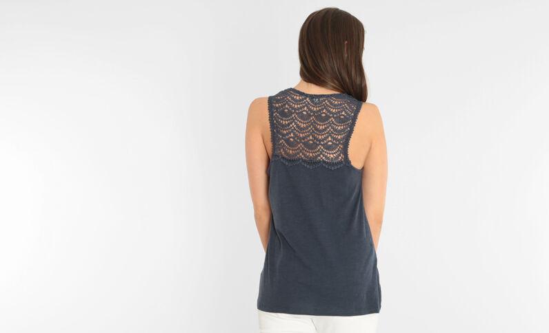 Camiseta de tirantes con encaje azul marino