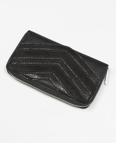 Brieftasche aus Krokolederimitation mit Zickzack-Muster Anthrazitgrau