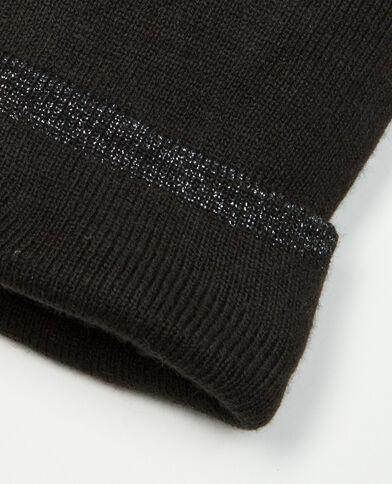 Mütze mit Umschlag aus Lurex-Garn Schwarz