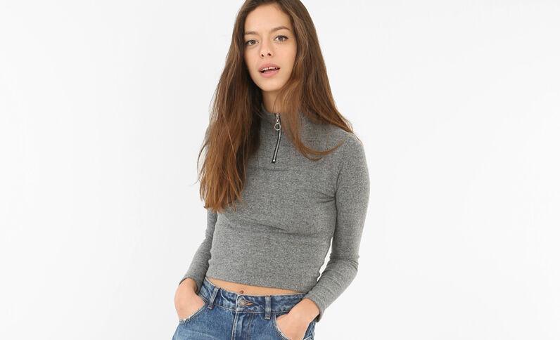 Pull cropped con zip grigio