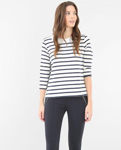 T-shirt col claudine bleu marine