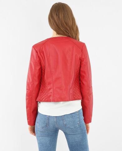 Jacke aus Kunstleder ohne Kragen Rot