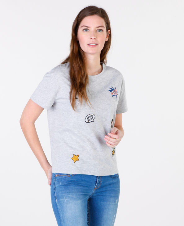 T-Shirts mit Patches Grau