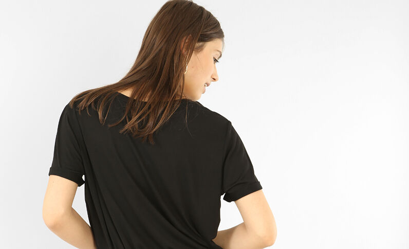 Oversize-T-Shirt mit genieteter Tasche Schwarz
