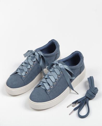 Baskets lacets satinés Bleu
