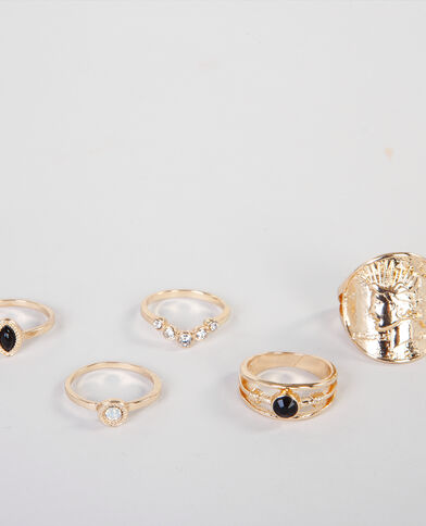 Lote de anillos étnicos dorado