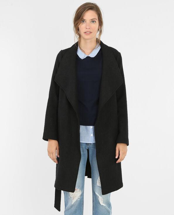 Manteau col châle drap de laine noir