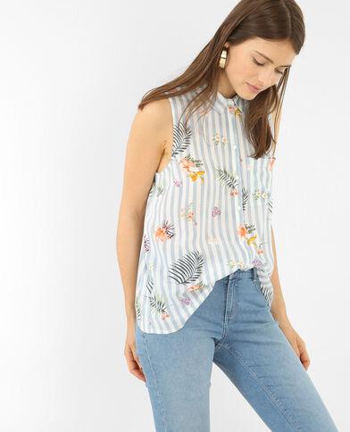 Bedrukt hemd met split achteraan Lichtblauw