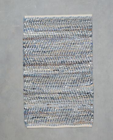Webteppich aus Denim und Kunstleder Blau