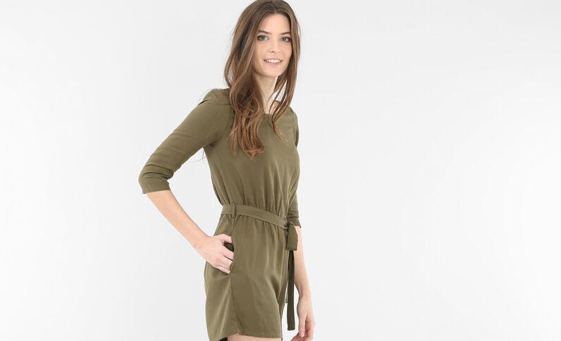 Kombi-Shorts aus weich fließendem Material Grün