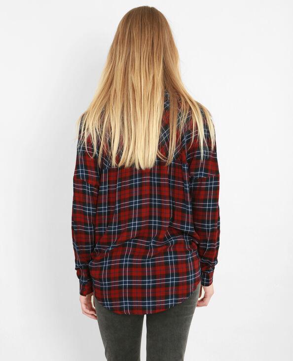 Camisa de cuadros bordada burdeos