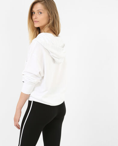 Lange sportsweater wit