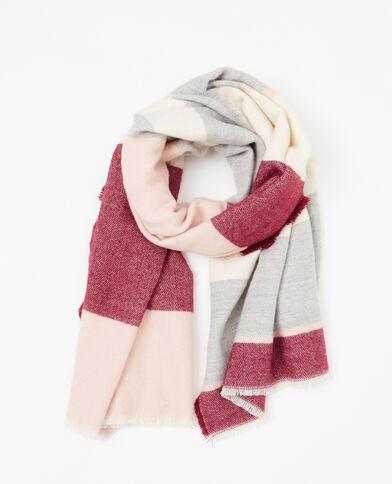 Plaid-Schal mit Streifen Zartrosa