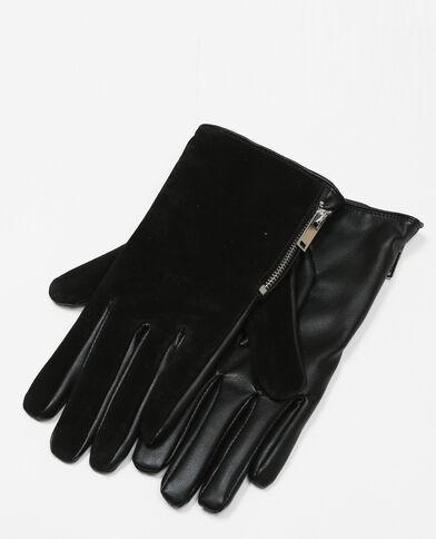 Handschuhe aus Wildlederimitation und Kunstleder Schwarz