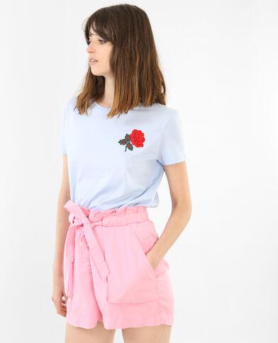 T-Shirt bestickt mit Rose Himmelblau
