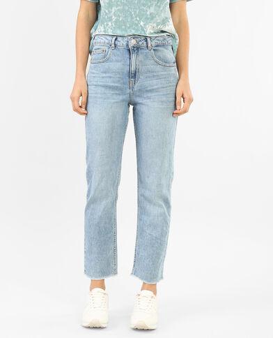 Gerade 7/8-Jeans mit hoher Taille Denimblau