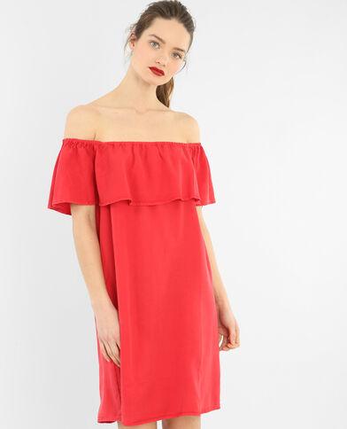 Vestido volante escote bardot rojo