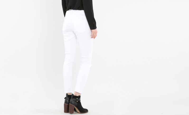 Jeans skinny sfilacciato écru