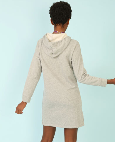 Sweatshirt-Kleid mit Kapuze Grau meliert
