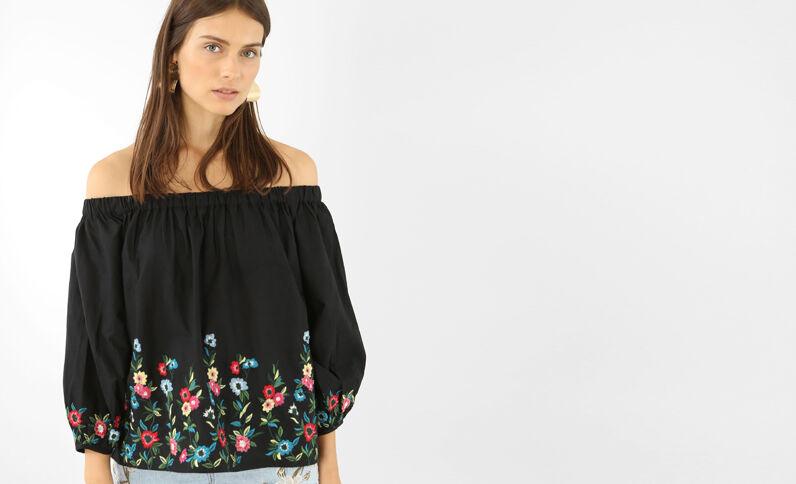 Gestickte Bluse mit Bardot-Ausschnitt Schwarz