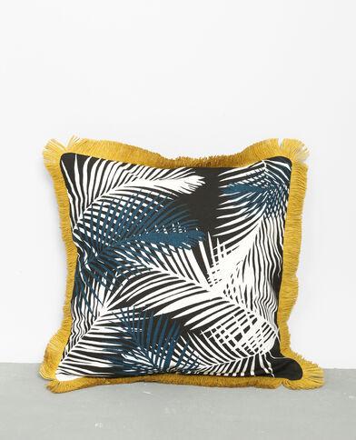Federa per cuscino con frange sui bordi nero