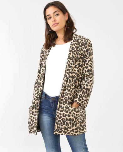 Blazer de crespón leopardo negro