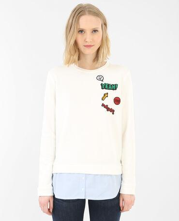 2-in-1-Sweatshirt mit Patches Schwarz