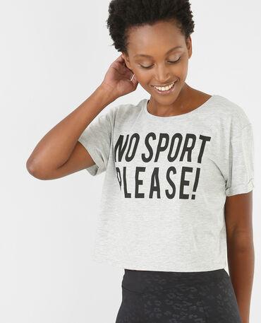 T-shirt cropped con scritta grigio chiné