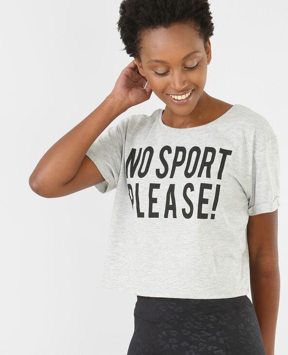 T-shirt cropped message gris chiné