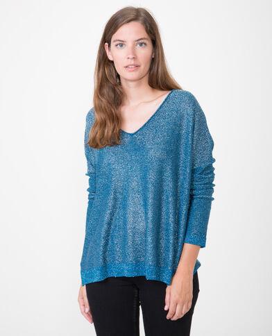 Pullover aus Lurex Metallic-Blau