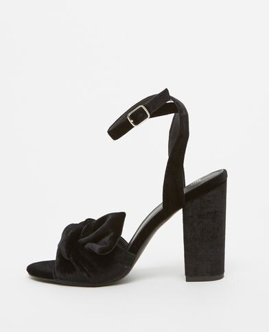 Pumps in Velours-Optik Schwarz
