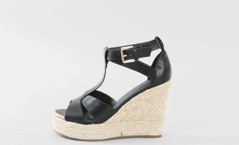 Keil-Sandaletten Schwarz