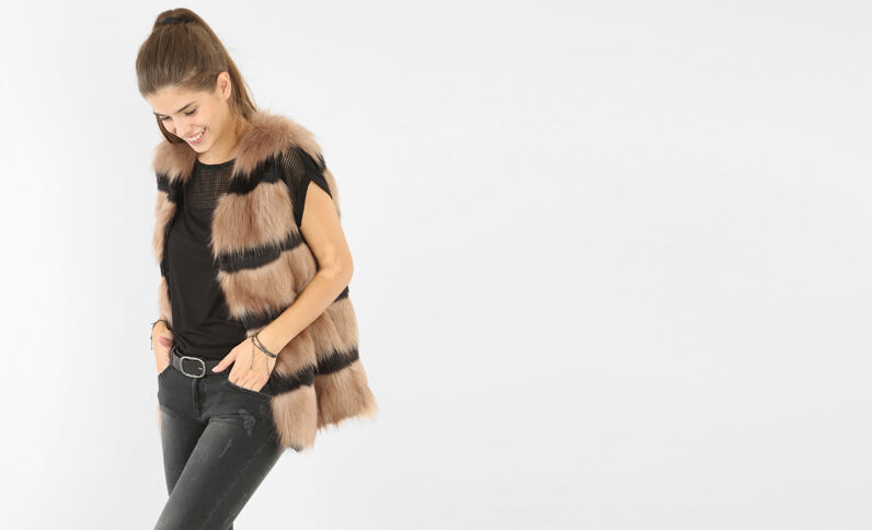 Cardigan pelliccia ecologica Beige